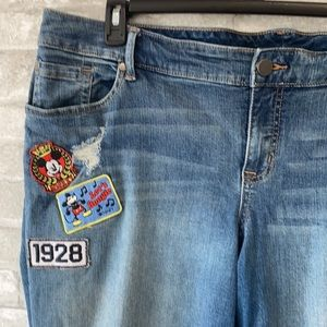 Distressed Disney blue jeans Mickey patches